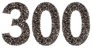 阿拉伯数字300,三百,从黑色一块自然木炭 免版税库存图片