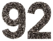 阿拉伯数字92,九十二,从黑色一块自然木炭,是 图库摄影