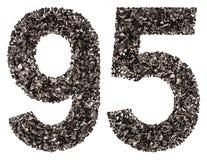 阿拉伯数字95,九十五,从黑色一块自然木炭, i 免版税库存照片