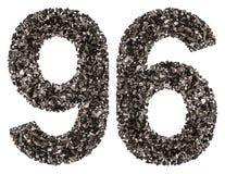阿拉伯数字96,九十六,从黑色一块自然木炭,是 免版税图库摄影