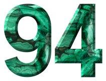 阿拉伯数字94,九十四,从自然绿色绿沸铜,隔绝在白色背景 免版税图库摄影