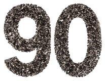 阿拉伯数字90,九十,从黑色一块自然木炭, isolat 免版税库存照片