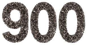 阿拉伯数字900,九百,从黑色一块自然木炭, 免版税库存图片