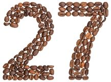 阿拉伯数字27,二十七,从咖啡豆,被隔绝  库存照片