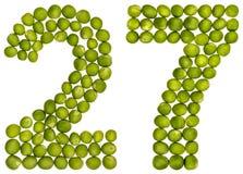 阿拉伯数字27,二十七,从绿豆,隔绝在wh 免版税库存图片
