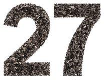 阿拉伯数字27,二十七,从黑色一块自然木炭, 免版税库存照片