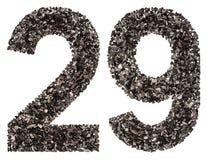 阿拉伯数字29,二十九,从黑色一块自然木炭, i 库存图片