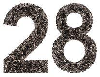 阿拉伯数字28,二十八,从黑色一块自然木炭, 免版税库存图片