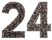 阿拉伯数字24,二十四,从黑色一块自然木炭, i 免版税库存照片