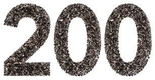 阿拉伯数字200,二百,从黑色一块自然木炭, 免版税库存图片