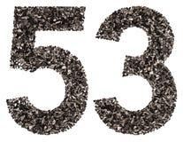 阿拉伯数字53,五十三,从黑色一块自然木炭, i 免版税库存照片