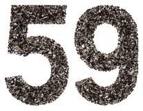 阿拉伯数字59,五十九,从黑色一块自然木炭,是 免版税库存照片