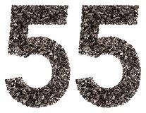 阿拉伯数字55,五十五,从黑色一块自然木炭,是 免版税图库摄影