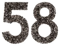 阿拉伯数字58,五十八,从黑色一块自然木炭, i 免版税库存照片