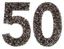 阿拉伯数字50,五十,从黑色一块自然木炭,孤立 库存照片