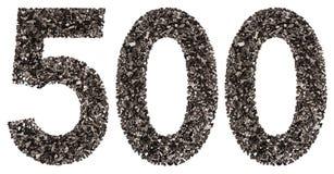 阿拉伯数字500,五百,从黑色一块自然木炭, 图库摄影