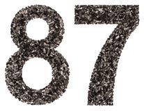 阿拉伯数字87,八十七,从黑色一块自然木炭, 库存照片