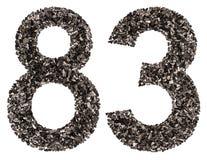 阿拉伯数字83,八十三,从黑色一块自然木炭, 免版税图库摄影