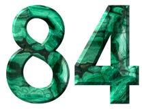 阿拉伯数字84,八十四,从自然绿色绿沸铜,隔绝在白色背景 库存照片