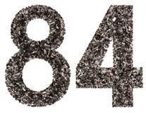 阿拉伯数字84,八十四,从黑色一块自然木炭, i 库存照片