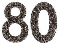阿拉伯数字80,八十,从黑色一块自然木炭, isolat 免版税库存图片