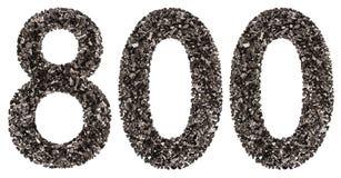 阿拉伯数字800,八百,从黑色一块自然木炭 库存照片