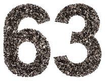阿拉伯数字63,六十三,从黑色一块自然木炭, i 免版税库存图片