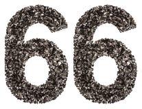 阿拉伯数字66,六十六,从黑色一块自然木炭, iso 免版税库存图片
