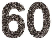 阿拉伯数字60,六十,从黑色一块自然木炭,孤立 免版税库存照片