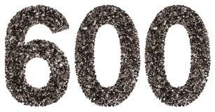 阿拉伯数字600,六百,从黑色一块自然木炭, 库存图片