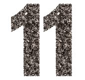 阿拉伯数字11,十一,从黑色一块自然木炭, isolat 免版税库存照片