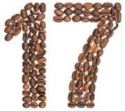 阿拉伯数字17,十七,从咖啡豆,隔绝在whi 免版税库存图片