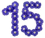 阿拉伯数字15,十五,从胡麻蓝色花,被隔绝 免版税库存图片