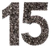 阿拉伯数字15,十五,从黑色一块自然木炭, isola 免版税库存照片