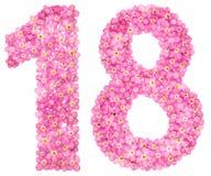 阿拉伯数字18,十八,从桃红色勿忘草开花,是 免版税库存照片