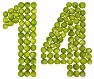 阿拉伯数字14,十四,从绿豆,隔绝在白色 免版税库存照片