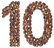 阿拉伯数字10,十,从咖啡豆,隔绝在白色bac 免版税库存图片