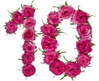 阿拉伯数字10,十,从红色花在wh上升了,隔绝 免版税库存照片