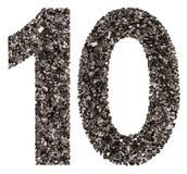 阿拉伯数字10,十,从黑色一块自然木炭,被隔绝 免版税库存图片