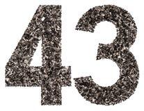 阿拉伯数字43,四十三,从黑色一块自然木炭, i 免版税图库摄影