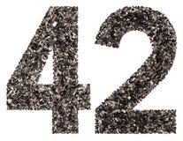 阿拉伯数字42,四十二,从黑色一块自然木炭, iso 免版税库存照片