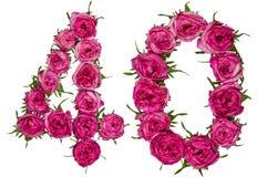 阿拉伯数字40,四十,从红色花上升了,隔绝  免版税库存图片