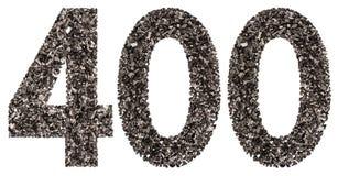 阿拉伯数字400,四百,从黑色一块自然木炭, 免版税库存照片