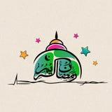 阿拉伯文本和清真寺赖买丹月Kareem庆祝的 库存照片