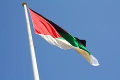 阿拉伯旗子在亚喀巴,约旦 图库摄影