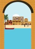 阿拉伯村庄在沙漠 免版税库存图片
