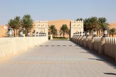 阿拉伯样式旅馆在沙漠 库存图片