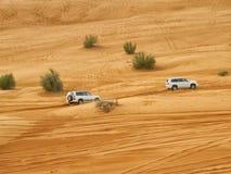 阿拉伯沙漠徒步旅行队 库存图片