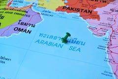 阿拉伯海地图 免版税库存照片