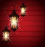 阿拉伯灯为圣洁月回教社区 库存照片
